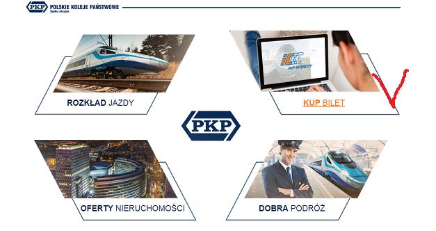 """вход в раздел """"купить билет"""" на сайте pkp.pl"""