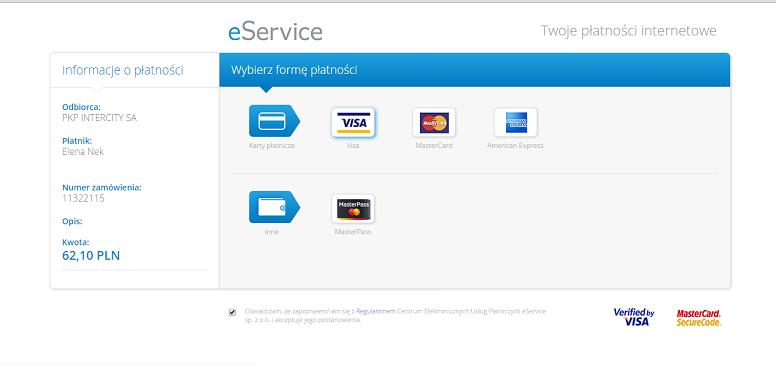выбор банковской карты длч оплаты билета на сайте www.intersity.pl