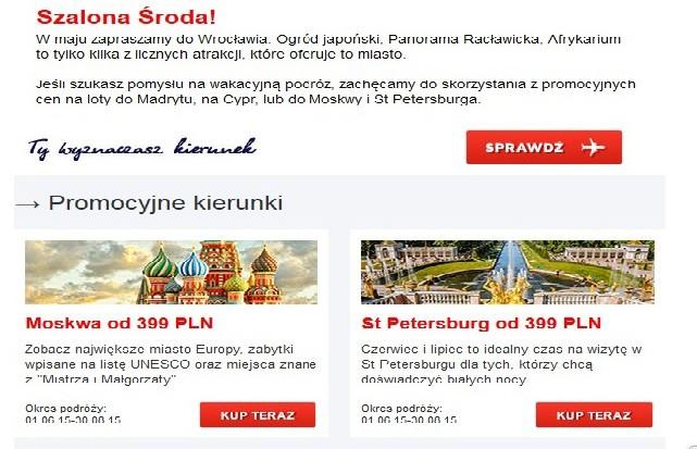"акция на сайте авиакомпании Lot ""Szalona środa"""