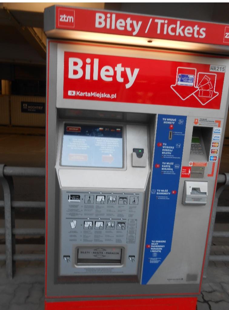 автомат для покупки билетов на проезд в городском транспорте в Польше