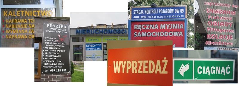 вывески, указатели, реклама на польском языке
